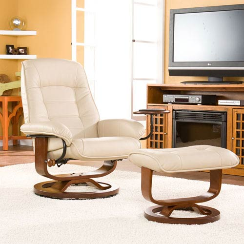 Taupe Bonded Leather Recliner and Ottoman