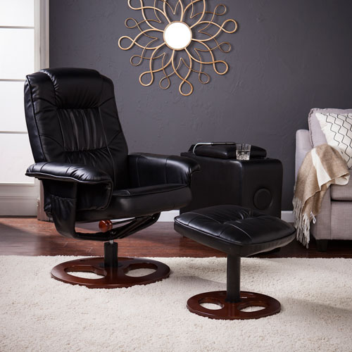 Lannica Faux Leather Swivel Recliner with Ottoman - Black