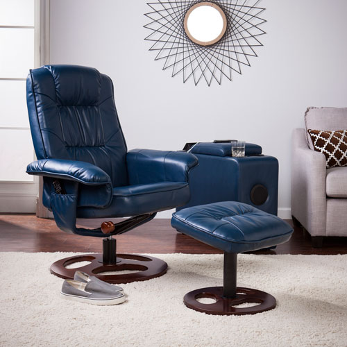Lannica Faux Leather Swivel Recliner with Ottoman
