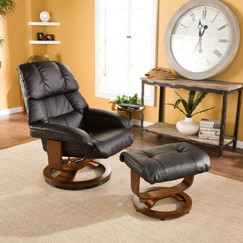 Southern Enterprises Black Bonded Leather Recliner and Ottoman