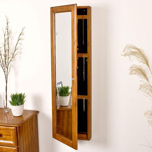 Superieur Oak Wall Mount Jewelry Mirror