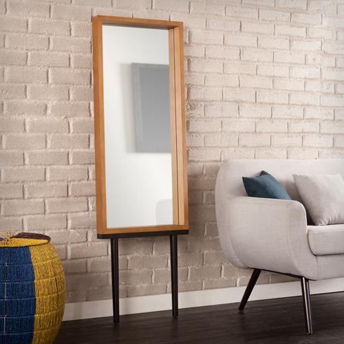 Weathered Gray Sawa Leaning Mirror