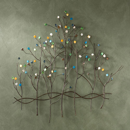 Bronze Gemstone Forest Wall Sculpture