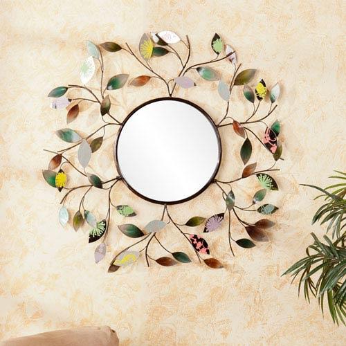 Multicolored Decorative Metallic Leaf Wall Mirror