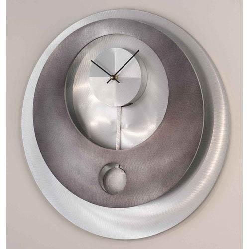 Vendome Gunmetal and Brushed Aluminum Pendulum 22-Inch Wall Clock