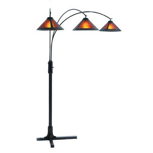 Mica Dark Brown Wood Three-Light Arc Lamp