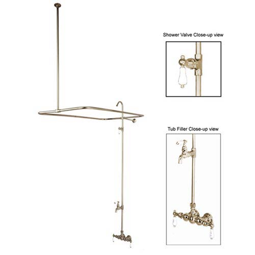 St. Louis Satin Nickel Shower System with Porcelain Levers