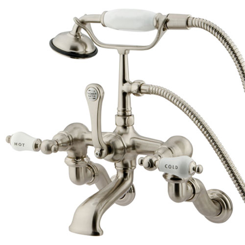 Essentials Satin Nickel Wall Mount Clawfoot Tub Filler with Hand Shower