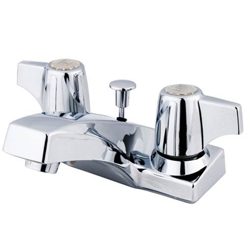 Elements of Design Chrome Centerset Canopy Handle Lavatory Faucet with Brass Pop-Up