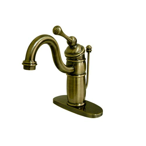 Vintage Brass 6-Inch Spout Reach Lavatory Faucet with Pop-Up Road