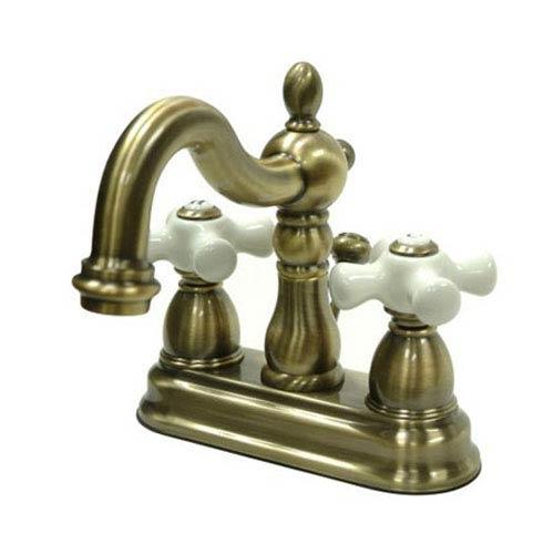 Vintage Brass 4-Inch Centerset Lavatory Faucet with Porcelain Cross Handles