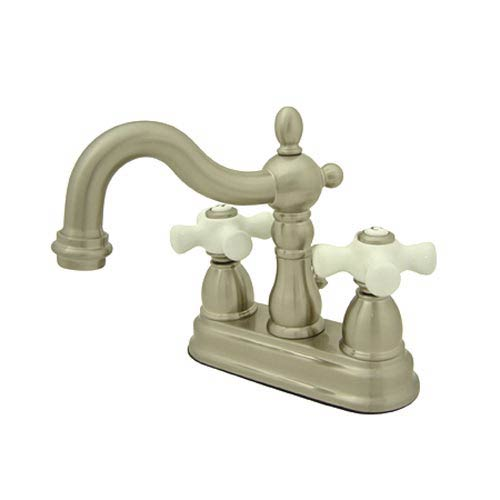 New Orleans Satin Nickel Bathroom Faucet with Porcelain Crosses