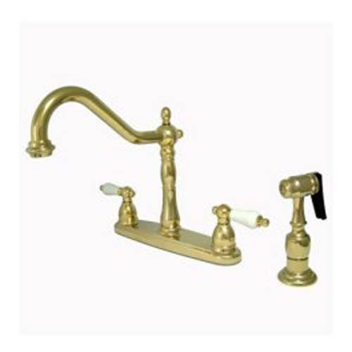 New Orleans Polished Brass 8-Inch Center Kitchen Faucet with Porcelain Lever
