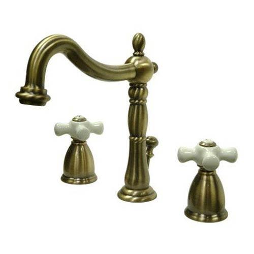 Vintage Brass Porcelain Cross Handle Widespread Lavatory Faucet