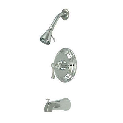 Elements of Design Chrome Buckingham Lever Handle Tub & Shower Faucet Set