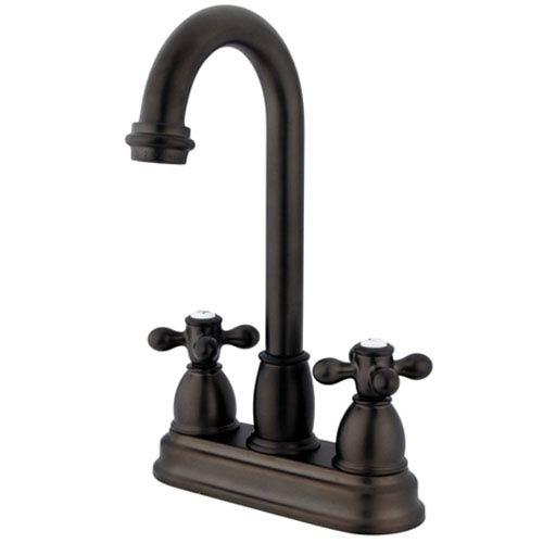 Oil Rubbed Bronze 4-Inch Centerset Metal Cross Handle Bar Faucet