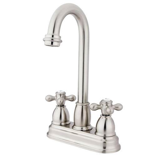 Satin Nickel 4-Inch Centerset Metal Cross Handle Bar Faucet