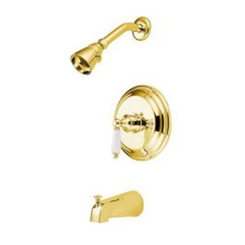 St. Louis Polished Brass Pressure Balanced Tub and Shower Faucet with Porcelain Lever