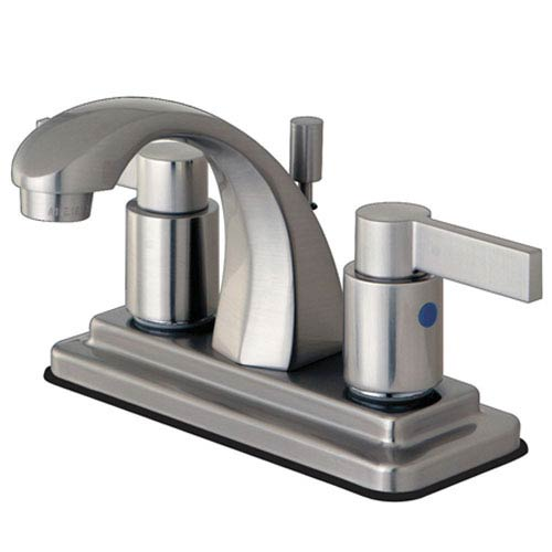 Elements of Design Dubai Satin Nickel 4-in Double Handle Centerset Lavatory Faucet with ABS/Brass Pop-Up