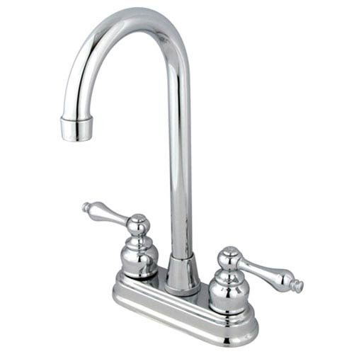 Chrome Victorian Lever Handle 4-Inch High Arc Bar Faucet