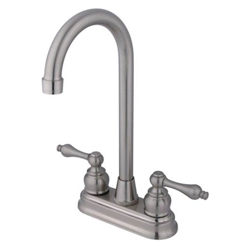 Satin Nickel Victorian Lever Handle 4-Inch High Arch Bar Faucet