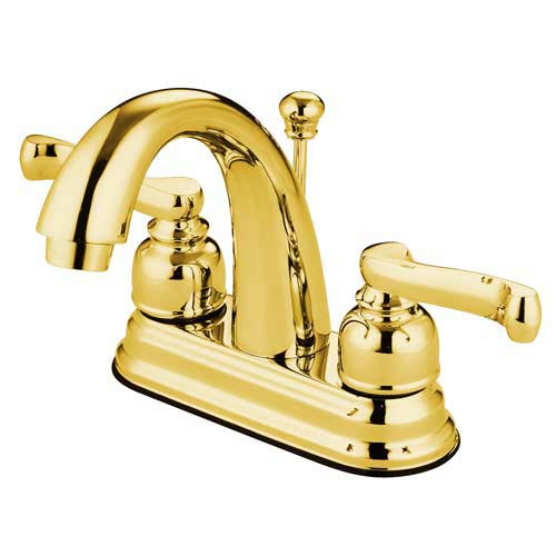 Atlanta Polished Brass Centerset Bathroom Faucet with High Spout