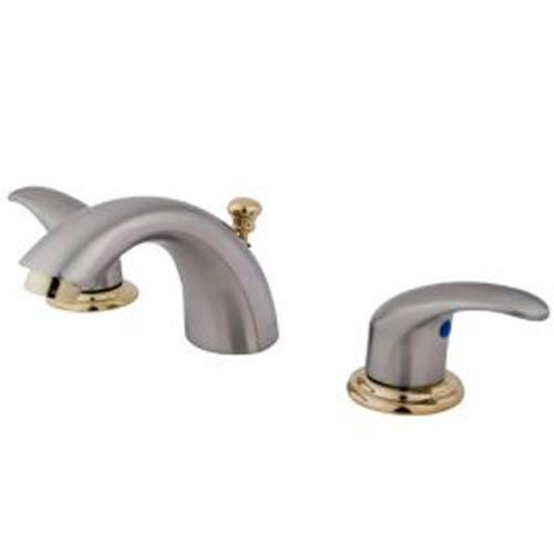 Daytona Satin Nickel and Polished Brass Adjustable Widespread Lavatory Faucet