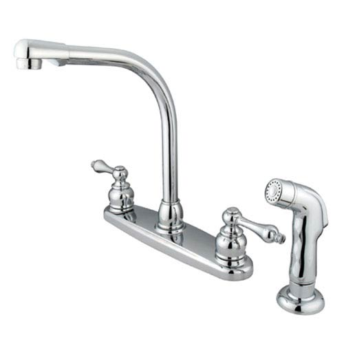 Elements of Design Chrome Metal Lever Handle High Arc Kitchen Faucet with Matching Sprayer