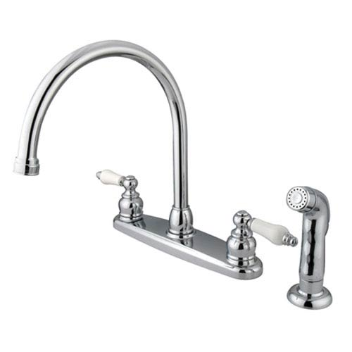 Chrome Lever Handle Goose Neck Kitchen Faucet with Matching Plastic Sprayer