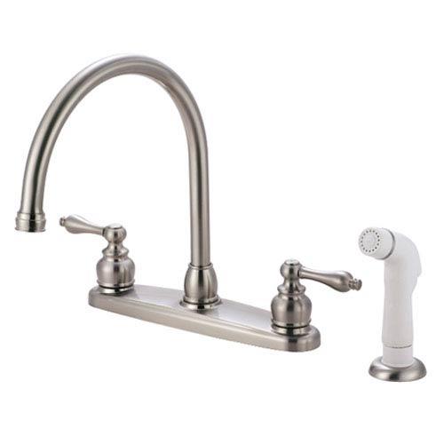Elements of Design Satin Nickel Victorian Lever Handle Goose Neck Kitchen  Faucet with Plastic Sprayer