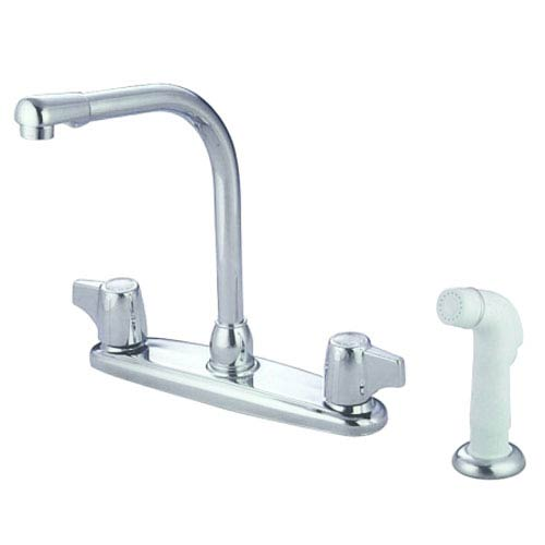 Elements of Design Chrome Franklin Canopy Two Handle High Arch Kitchen Faucet with White Sprayer