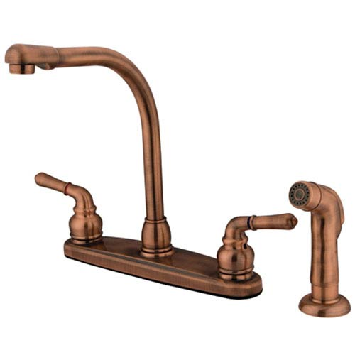Antique Copper Magellan Lever Two Handle 8-Inch High Arch Kitchen Faucet with Matching Plastic Sprayer