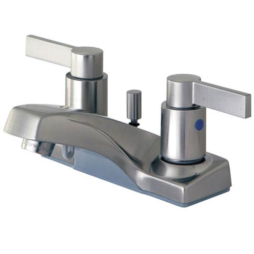 Dubai Satin Nickel 4-in Double Handle Centerset Lavatory Faucet with Brass Pop-Up