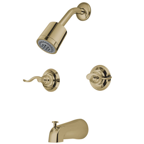 Paris Polished Brass Double Handle Tub and Shower Faucet