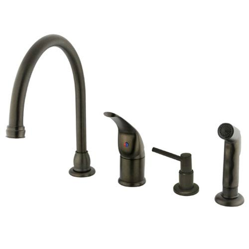Oil Rubbed Bronze Single Lever Kitchen Faucet with Matching Sprayer and Soap Dispenser