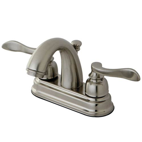 Elements of Design Paris Satin Nickel 4-in Centerset Double Handle Lavatory Faucet with Retail Pop-Up
