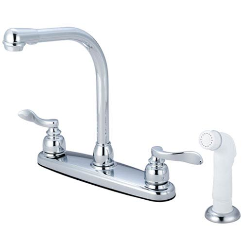 Elements of Design Nu-Day Polished Chrome Double Handle 8-Inch Centerset High-Arch Kitchen Faucet with White Sprayer