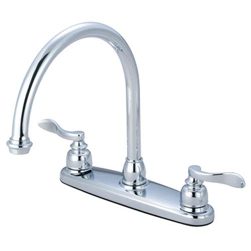 Nu-Day Polished Chrome Double Handle 8-Inch Centerset Kitchen Faucet