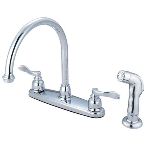 Nu-Day Polished Chrome Double Handle 8-Inch Centerset Kitchen Faucet with Matching Sprayer