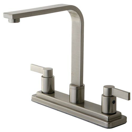 Dubai Satin Nickel 8-in Double Handle Centerset Kitchen Faucet