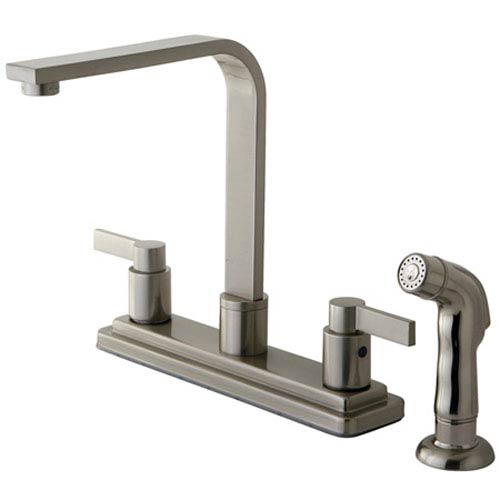 Elements of Design Dubai Satin Nickel 8-in Double Handle Centerset Kitchen Faucet with Side Sprayer