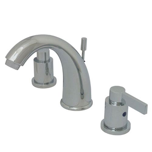 Blade Chrome Two Handle 8-Inch to 16-Inch Widespread Lavatory Faucet with Brass Pop-up