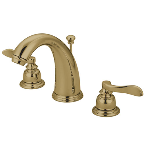 Paris Polished Brass Double Handle Widespread Lavatory Faucet with Retail Pop-Up