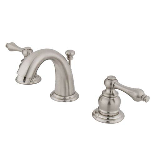Satin Nickel Metal Lever Twin Handle Mini Widespread Lavatory Faucet with Pop-Up