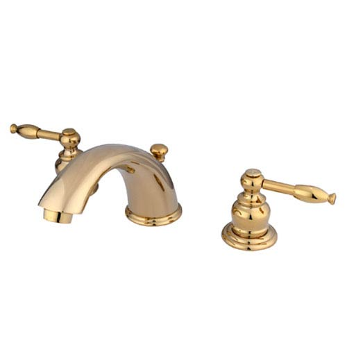 Elements of Design Polished Brass Knight Lever Adjustable Spread Lavatory Faucet
