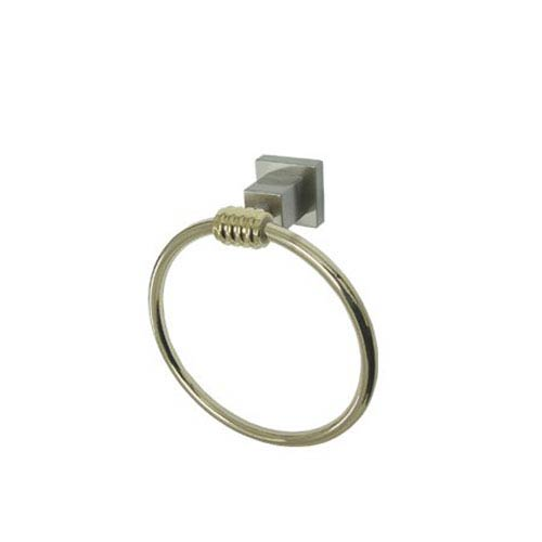 Elements of Design Fortress Satin Nickel and Polished Brass 6-Inch Towel Ring
