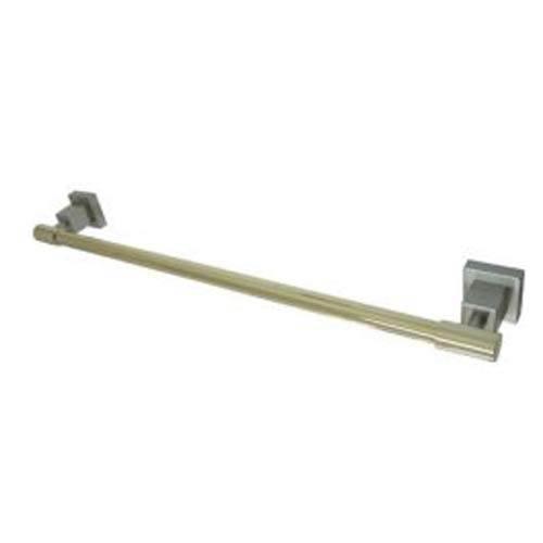Satin Nickel and Polished Brass 24-Inch Towel Bar