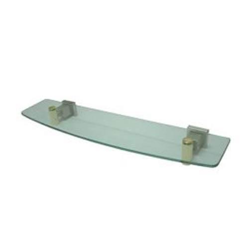 Satin Nickel and Polished Brass Glass Shelf
