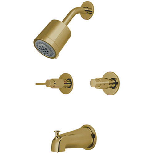 Dubai Polished Brass 8-in Double Handle Tub and Shower Faucet