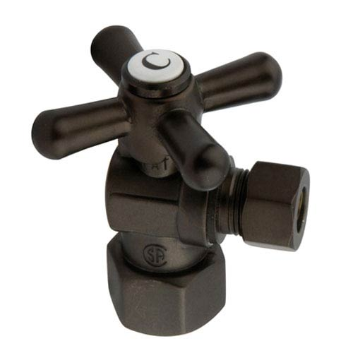 Elements of Design Accents Oil Rubbed Bronze Angle Stop with 1/2-Inch IPS x 3/8-Inch OD Compression